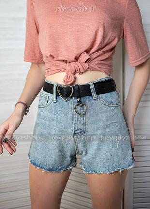Шорты джинсовые с потертостями необработанным краем голубые си...