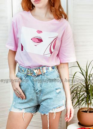 Хлопковая футболка в корейском стиле розовая с принтом рисунко...