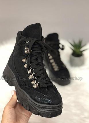 Хит 2019! ботинки на массивной тракторной подошве черные женск...