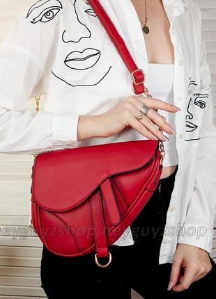Трендовая сумка седло в стиле диор 2019 saddle bag клатч красный