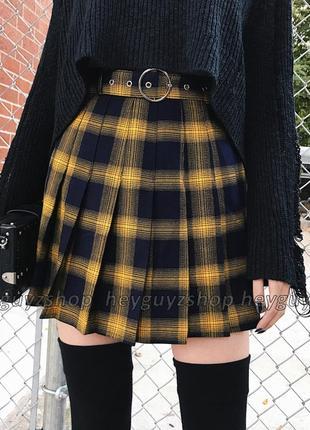 Клетчатая юбка в клетку теннисная плиссированная желтая черная...