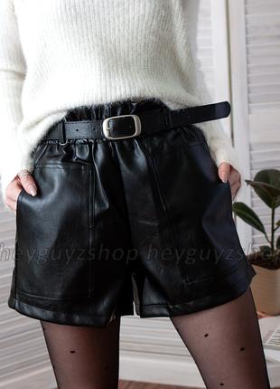 Кожаные шорты с поясом ремнем черные мини с карманами короткие...