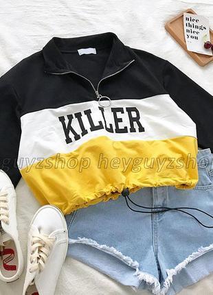 Укороченный свитшот худи killer с молнией колечко желтый спорт...