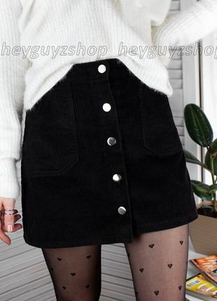 Короткая черная мини юбка на пуговицах теплая вельветовая барх...