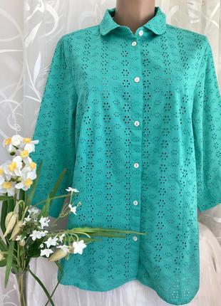 Изумрудная 💚🦋💚хлопковая блузка из прошвы peter hahn, xxl-xxxl,...