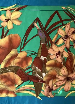 Роскошный 👑🌺👑💯 шелковый платок утки 🦆, италия, 86х84.
