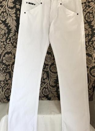Белые ♥️🍋♥️ хлопковые льняные брюки джинсы hugo boss.