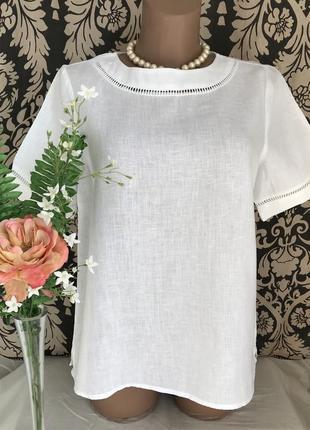 Белая ♥️ льняная блузка с прошвой mango cos zara.