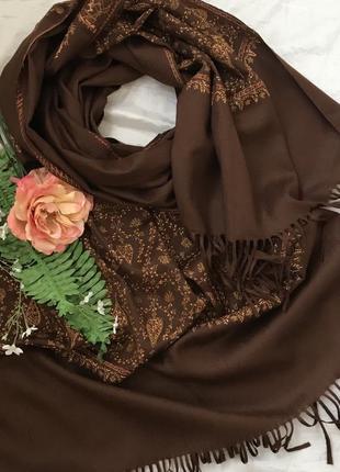 Большой ♥️😎 шерстяной шарф палантин thapar с вышивкой.