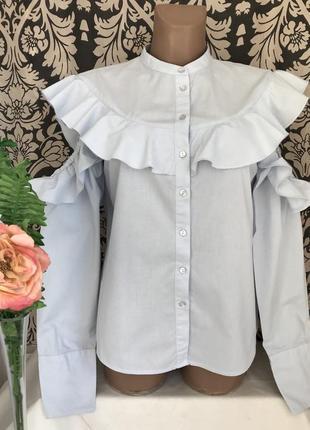 Голубая ♥️😎 хлопковая блузка с воланом и открытыми плечами villa.