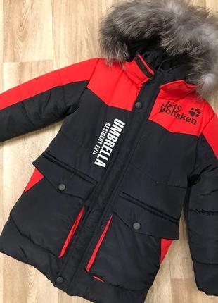 Теплая зимняя куртка с натуральной опушкой
