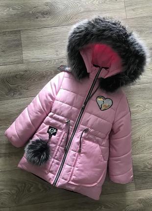 Красивое тёплое пальто с натуральным мехом