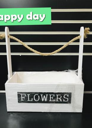 Цветочный деревянный ящик Flowers белый
