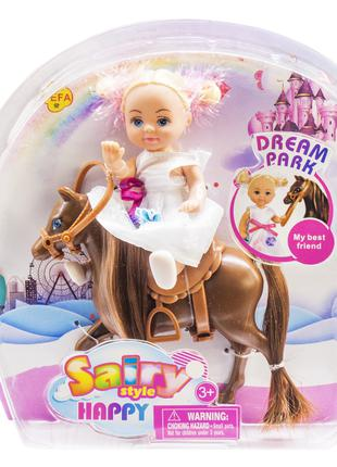 Кукла 'Defa' на гнедой лошадке (8410)