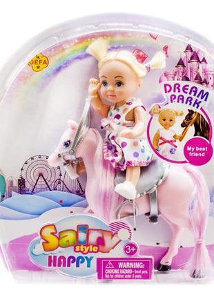 Кукла 'Defa' на розовой лошадке (8410)