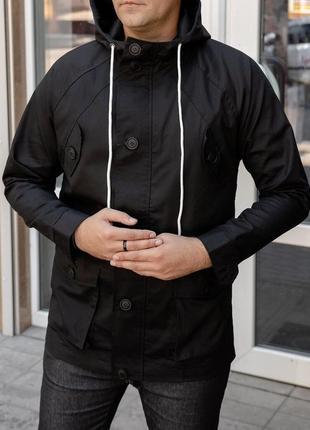 Мужская удлиненная куртка с капюшоном черная