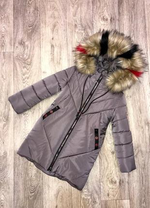 Теплое красивое качественное зимнее пальто на девочку