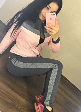 Женский спортивный костюм lux кофта на молнии штаны с манжетом...
