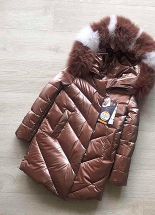 Шикарное зимнее пальто для девочки бархат с натуральным мехом,...