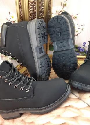 Ботинки черные эко нубук
