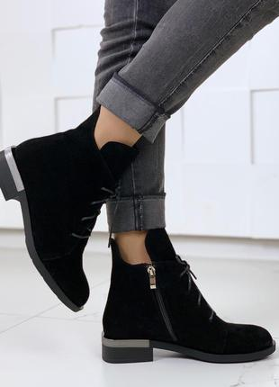Зимние замшевые ботинки на низком каблуке, зимние ботинки на м...