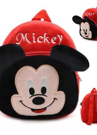 Детский рюкзак плюшевый  микки маус для мальчика / рюкзачок мя...