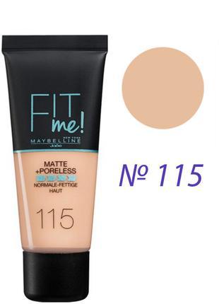 Maybelline Fit Me Matte Poreless Foundation Тональный крем 115