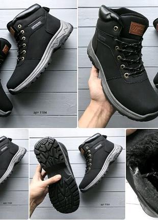 Зимние ботинки, эко нубук, эко мех