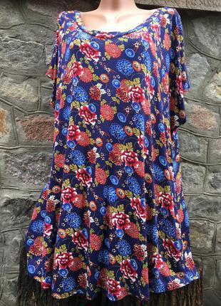Летняя вискозная блуза большого размера