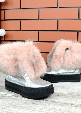 Натуральная кожа. роскошные кожаные зимние ботинки с пышным ме...