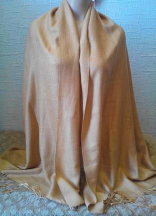 100% пашмина золотисто-бежевый  шарф,палантин.