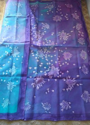 Шелковый платок  glamour  натуральный шелк ручной окрас шов роуль