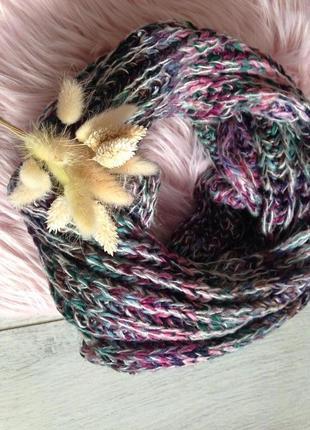 Стильный меланжевый шарф хомут крупной вязки
