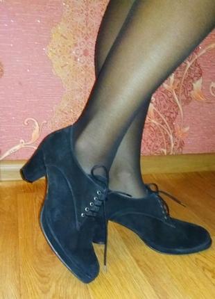 Замшевые натуральные туфли ботильоны, демисезонная обувь
