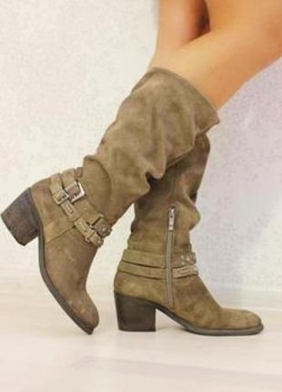 Замшевые сапоги на широком каблуке, демисезонные, бренд 5th av...
