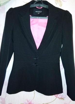 Черный деловой пиджак блейзер жакет от atmosphere