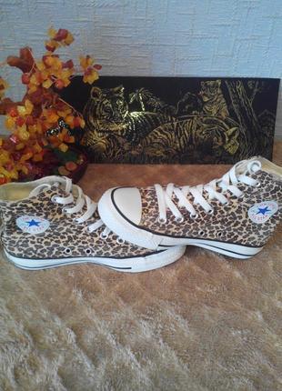 Женские леопардовые высокие кеды converse all star leopard лим...