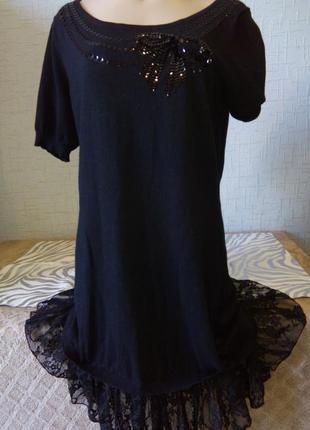 Черное трикотажное платье  george