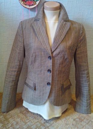 Пиджак жакет в мелкую полоску .коттон + лен.
