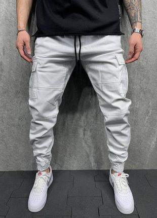 Джоггеры джинсы карго мужские базовые белые турция / джинси дж...