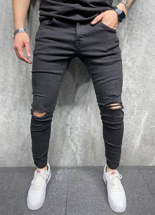 Джинсы мужские рваные черные турция / джинси чоловічі рвані чо...