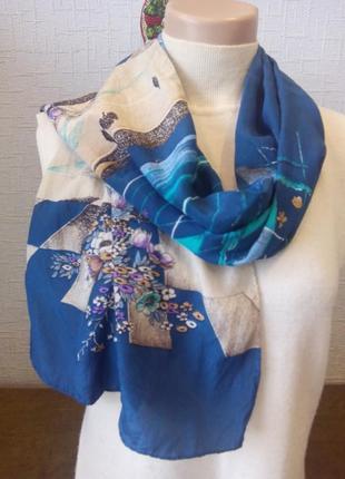 Шелковый шарф натуральный шелк шов роуль
