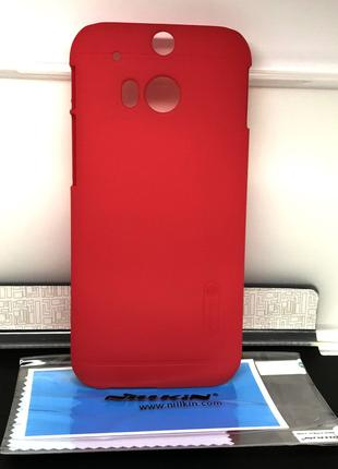Чехол для Htc One M8 накладка Nillkin +пленка красный