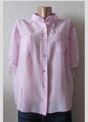 Стильная рубашка блуза шифон, большой размер!