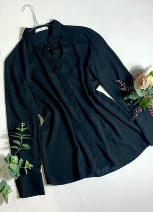 Рубашка в горошек прямая свободная блузка