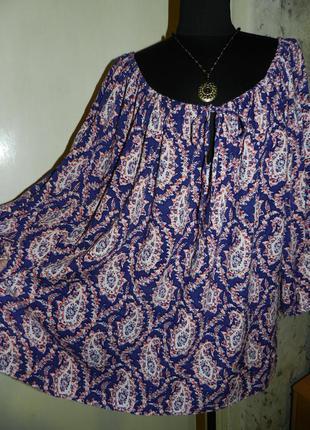 Натуральная блузка-распашонка,можно открывать плечи,большого р...