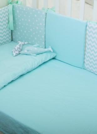Бортики в детскую кроватку Хлопковые Традиции 30х30 см 6 шт Мя...
