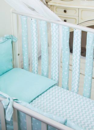 Бортики в детскую кроватку Хлопковые Традиции 15х50 см 6 шт Мя...