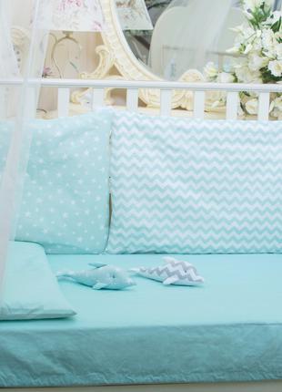 Бортики в детскую кроватку Хлопковые Традиции 40х60 см 3 шт Мя...