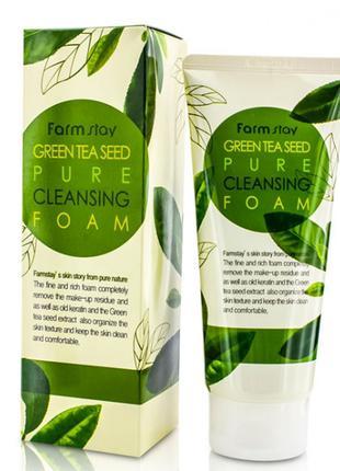 Пенка для умывания Farmstay Green Tea Seed Pure Cleansing Foam...